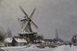 A Windmill In A Winter Landscape Near Delft | Louis Apol | Oil Painting