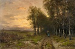 Evening Landscape with Returning Firewood Collectors | Louis Apol | Oil Painting
