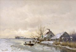 A View of a Polder Canal in Winter | Louis Apol | Oil Painting