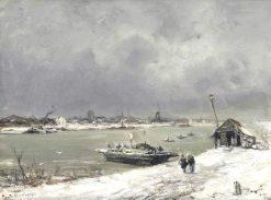 A Ferry Crossing near Wijk bij Duurstede in Winter | Louis Apol | Oil Painting