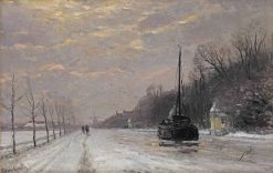 Along a Canal in Winter | Louis Apol | Oil Painting