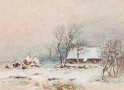 Farm in a Winter Landscape | Louis Apol | Oil Painting