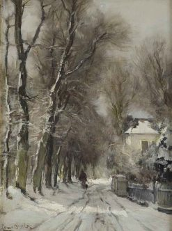 A Snow Covered Path in Winter | Louis Apol | Oil Painting