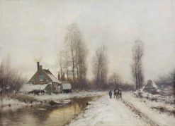 A Horse Drawn Cart along a Canal in Winter | Louis Apol | Oil Painting