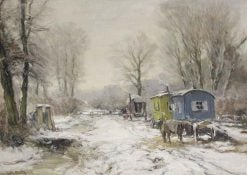 A Snow Covered Forest with Fair Wagons and a Horse along a Path | Louis Apol | Oil Painting