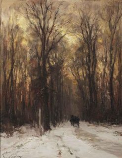 Along a Forest Path on a Winter's Day | Louis Apol | Oil Painting