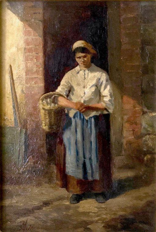 Woman in a Doorway Holding a Basket   Jean-Louis Ernest Meissonier   Oil Painting