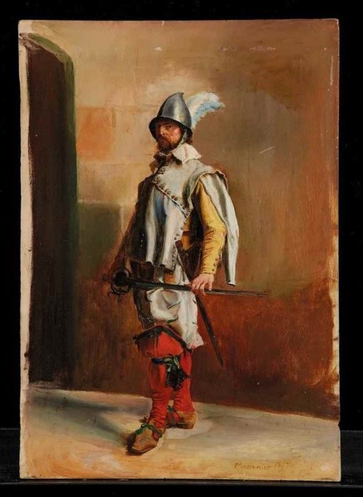 Full-length Portrait of a Swiss Guard Soldier | Jean-Louis Ernest Meissonier | Oil Painting