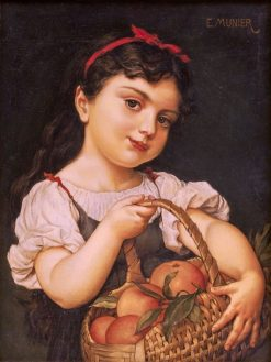 Girl with Basket   mile Munier   Oil Painting