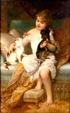 Girl with Kitten and Puppy   mile Munier   Oil Painting