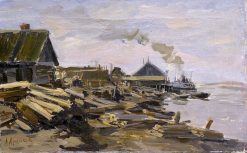 Steamship in Northern Russia   Abram Efimovich Arkhipov   Oil Painting
