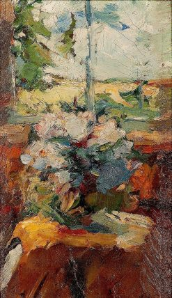 Impressionist Still Life with Bouquet and Window   Abram Efimovich Arkhipov   Oil Painting