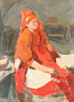 Study of Peasant Woman in Red Costume   Abram Efimovich Arkhipov   Oil Painting