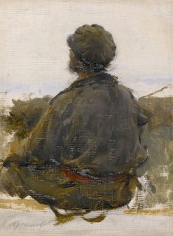 Study of a Seated Man   Abram Efimovich Arkhipov   Oil Painting
