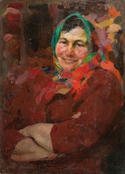 Woman in a Green Headscarf   Abram Efimovich Arkhipov   Oil Painting