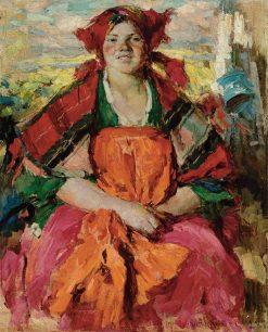 Girl from Lesnoye   Abram Efimovich Arkhipov   Oil Painting