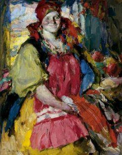 Girl with Apples   Abram Efimovich Arkhipov   Oil Painting