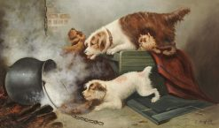 Four Terriers in an Interior