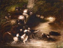 Otter Hounds in Pursuit | Edward Armfield | Oil Painting