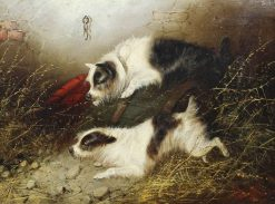Two Terriers Ratting | Edward Armfield | Oil Painting