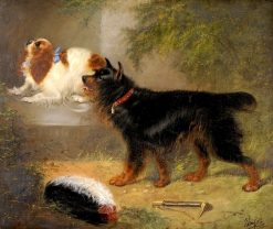 Terrier and a King Charles Spaniel beside a Wall | Edward Armfield | Oil Painting