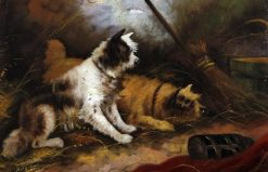 Terriers Ratting in a Barn | Edward Armfield | Oil Painting