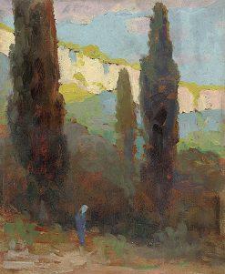 Poplars by the Road   Ludovit ?ordák   Oil Painting