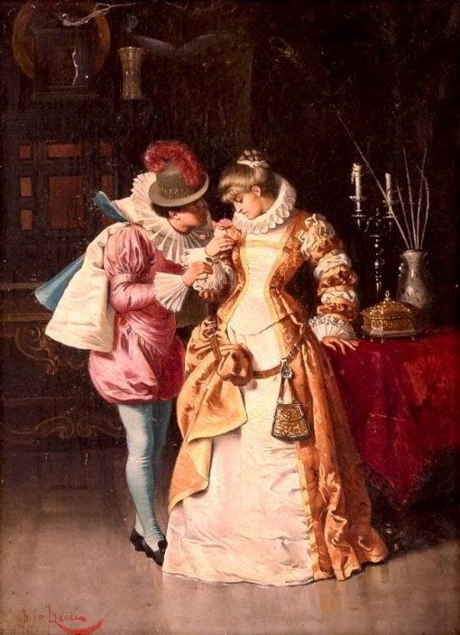 Man Pinning Rose on Woman   Pio Ricci   Oil Painting