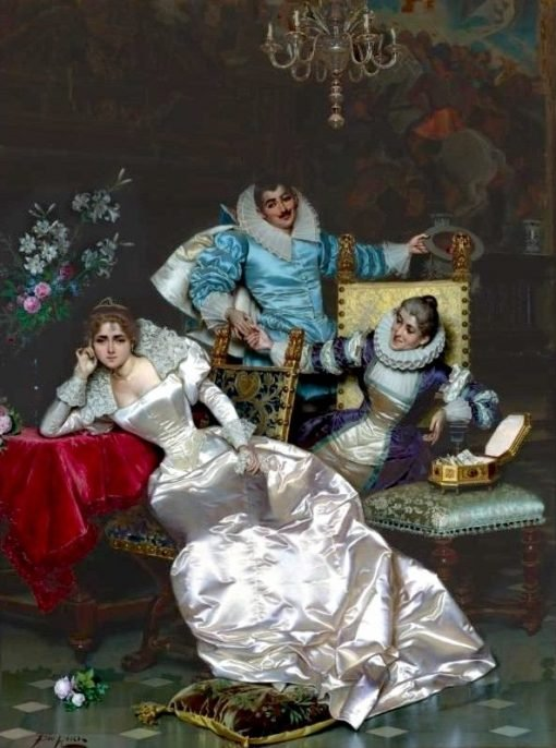 The Handsome Suitor visits his Maiden | Pio Ricci | Oil Painting