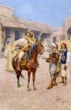 Arab Men in the Town Square | Giulio Rosati | Oil Painting