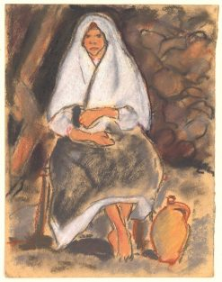 Sitting Girl with Jug | Zolo Palugyay | Oil Painting