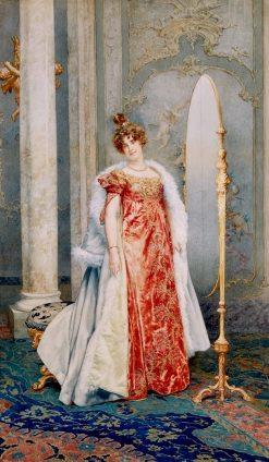 Elegant Lady before a Mirror   Giuseppe Signorini   Oil Painting