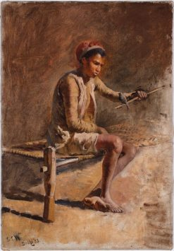 Boy on a Charpoi Holding a Bird on a Stick | Edwin Lord Weeks | Oil Painting