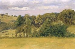 New England Meadow with Trees and Spires | Edwin Lord Weeks | Oil Painting