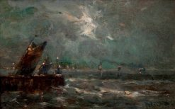 Marine with Yachts by the Palisade in Moonlight | Louis Artan | Oil Painting