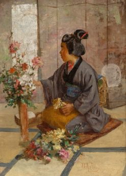 A Japanese Woman Arranging Flowers | John Charles Arter | Oil Painting