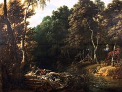 A Wooded Landscape with a Boar Hunt | Jacques d'Arthois | Oil Painting
