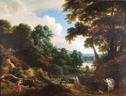 A Wooded Landscape with Diana and Her Nymphs Hunting a Stag | Jacques d'Arthois | Oil Painting