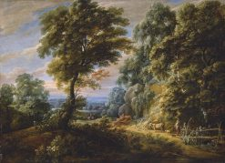 A Wooded Landscape with a Shepherdess Passing a Steep Bank | Jacques d'Arthois | Oil Painting