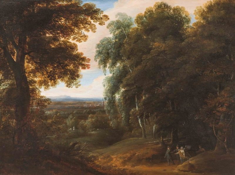 Landscape with Hunters and an Angel | Jacques d'Arthois | Oil Painting