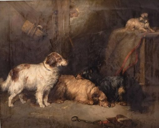 Four Dogs in a Stable | Sir Edwin Landseer | Oil Painting