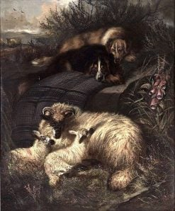 Two Dogs Guarding a Ewe and Her Two Lambs | Sir Edwin Landseer | Oil Painting