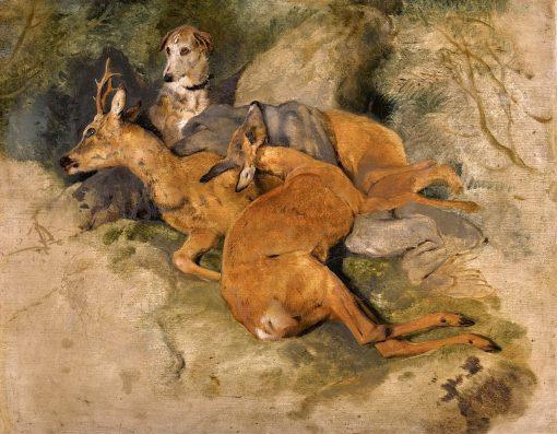 A Deerhound with Two Dead Roe Deer | Sir Edwin Landseer | Oil Painting