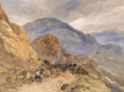 A Highland Landscape with a Stone Breaker in the Foreground