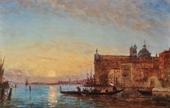 Venice - Giudecca with the Chiesa dei Gesuati in the Evening | Felix-Francois-Georges-Philbert Ziem | Oil Painting