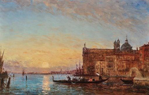 Venice - Giudecca with the Chiesa dei Gesuati in the Evening   Felix-Francois-Georges-Philbert Ziem   Oil Painting