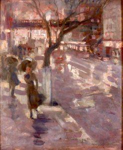 New York Street Scene   Edmund Marion Ashe   Oil Painting