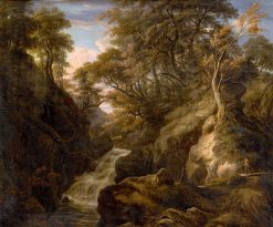A Wooded Landscape with a Waterfall and a Fisherman Walking along a Path | William Ashford | Oil Painting