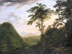 A wooded river landscape looking towards the Sugar Loaf from the Scalp.... | William Ashford | Oil Painting