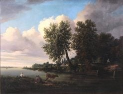 River Landscape with Boy Fishing Off a Bank | William Ashford | Oil Painting